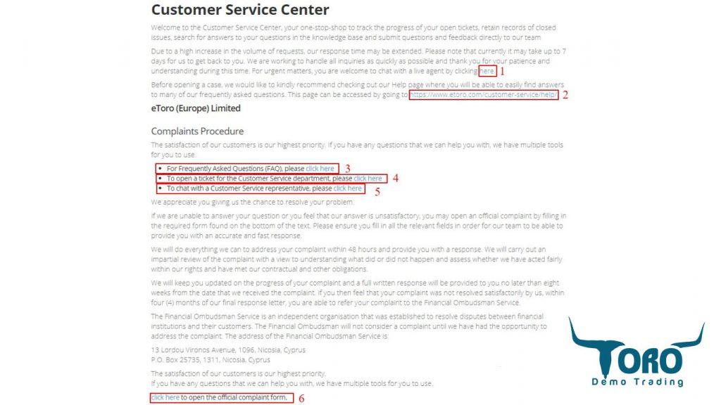 eToro Customer Service Page