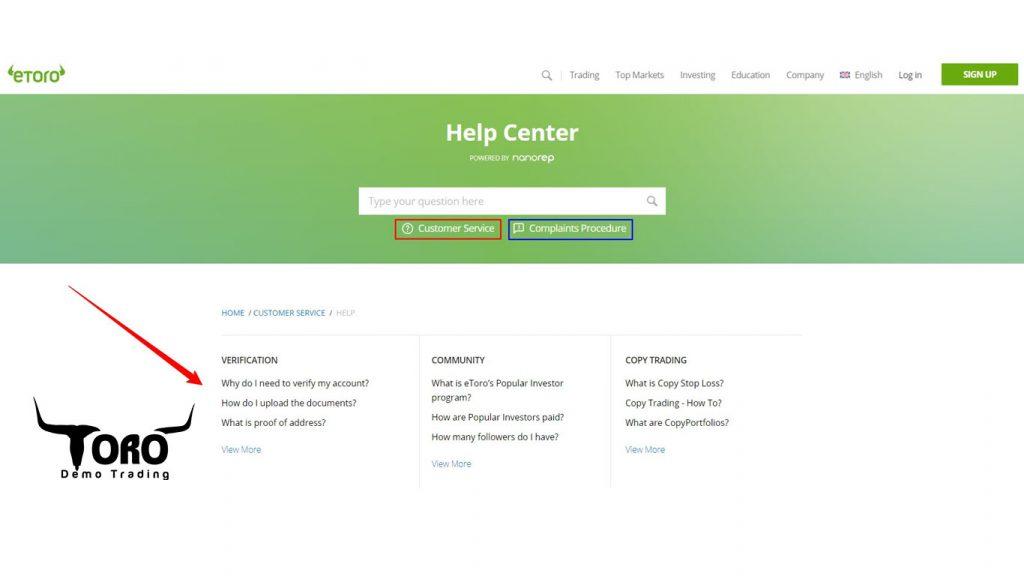 eToro Help Center and FAQ page